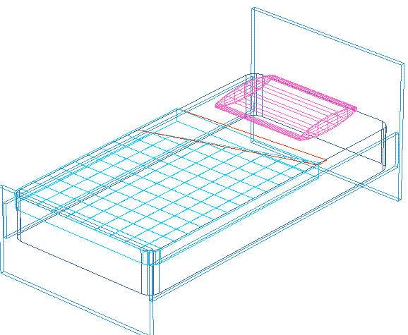 Blocchi autocad letto in 3d formato dwg - Letto singolo dwg ...