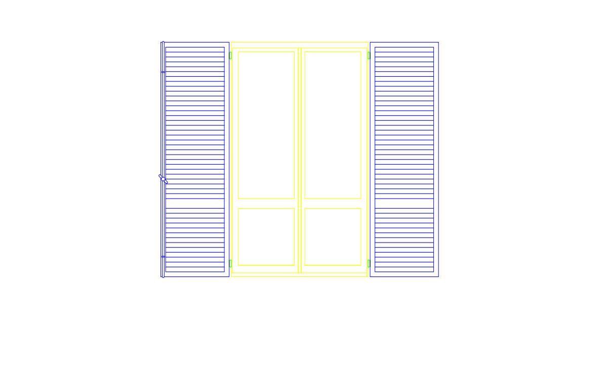 Blocco cad raffigurante finestra con scuri vista in prospetto formato dwg - Finestre in legno dwg ...