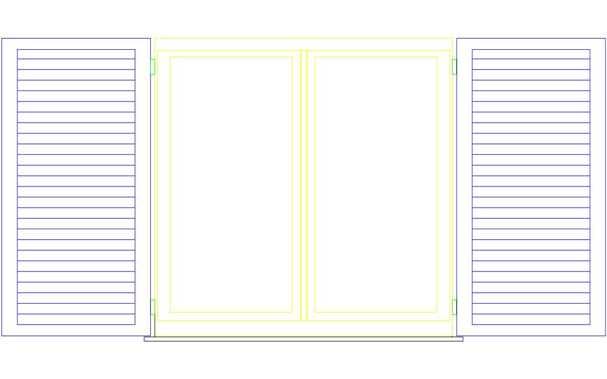 Blocco cad raffigurante finestra con scuri vista in prospetto formato dwg - Finestre prospetto ...