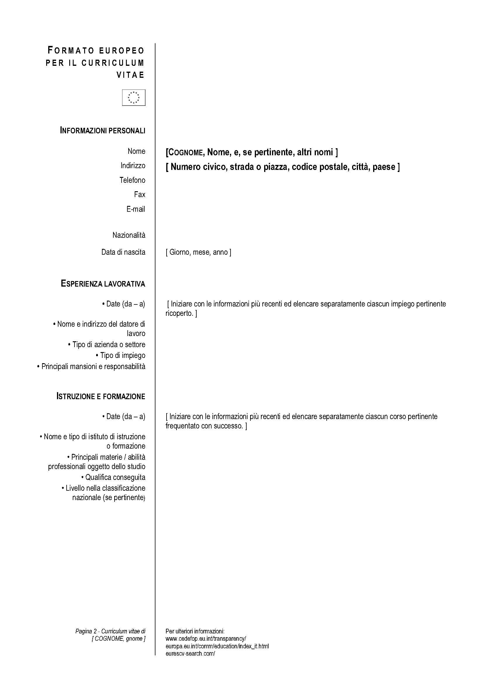 Il Formato Europeo Per Pilare Il Curriculum Vitae