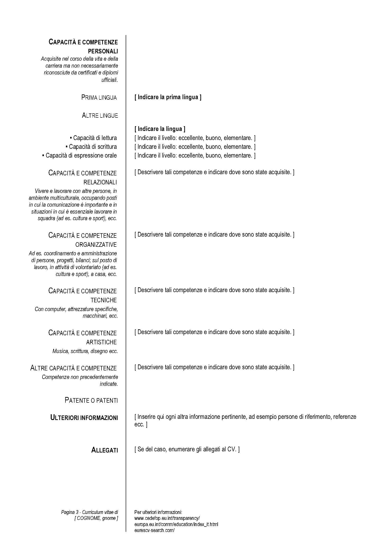 Il Formato Europeo Per Compilare Il Curriculum Vitae